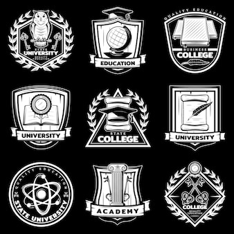 Zestaw etykiet vintage university i college