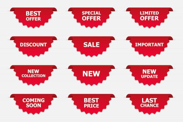Zestaw etykiet w kolorze czerwonym na białym tle. promocja banerów.