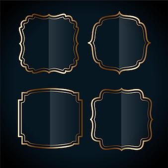Zestaw etykiet w stylu vintage ze złotą ramą