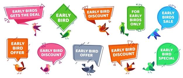 Zestaw etykiet wczesnych ptaków