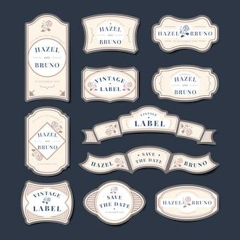 Zestaw etykiet wektor wesele zaproszenie etykiety