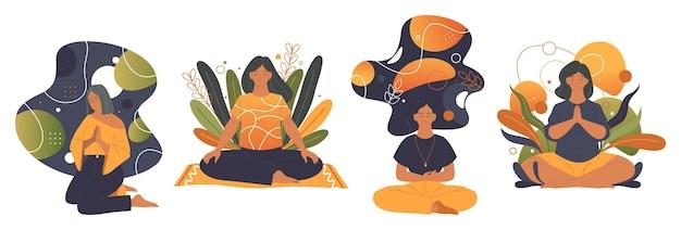 Zestaw etykiet wektorowych medytacji lub praktyki jogi