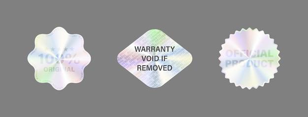 Zestaw etykiet z hologramem izoluj naklejkę z hologramem