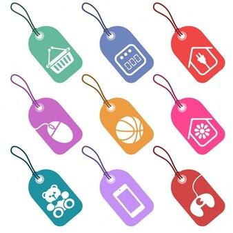Zestaw etykiet z ikonami dla części supermarkecie