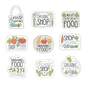 Zestaw etykiet z logo świeżej zdrowej ekologicznej żywności wegańskiej