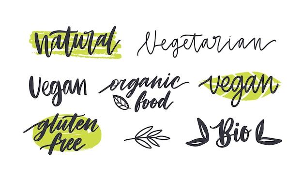 Zestaw etykiet z napisami na produkty bezglutenowe, wegetariańskie, ekologiczne, naturalna zdrowa żywność.
