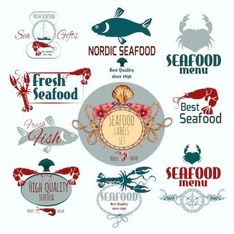 Zestaw etykiet z owocami morza