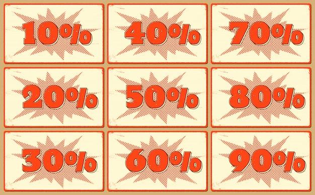 Zestaw etykiet z procentami sprzedaży
