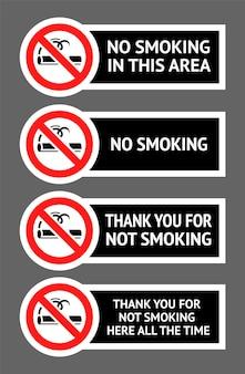 Zestaw etykiet zakaz palenia naklejek