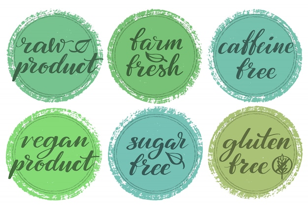 Zestaw etykiet zdrowej żywności. etykiety lub naklejki produktu.