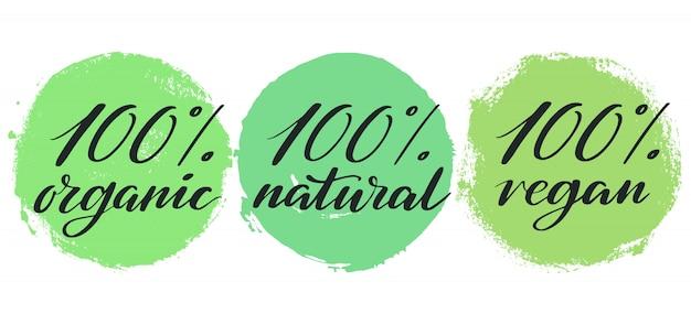 Zestaw etykiet zdrowej żywności. odznaki lub naklejki produktu.