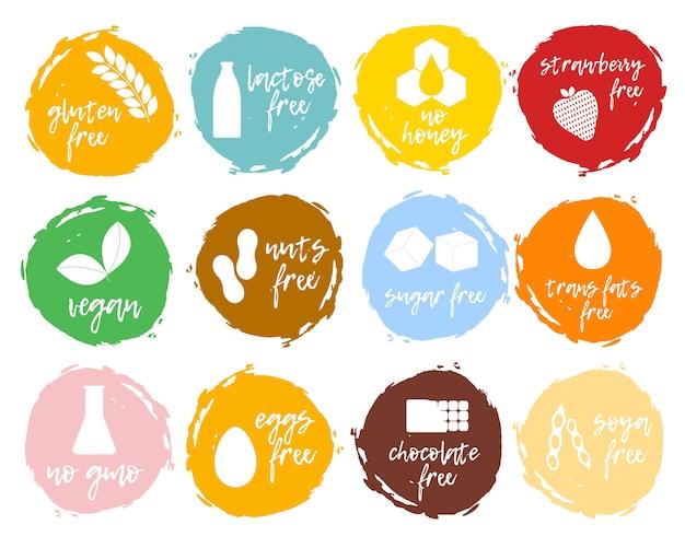 Zestaw etykiet żywności - alergeny, produkty wolne od gmo. kolekcja symboli nietolerancji pokarmowej.