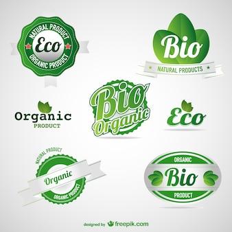Zestaw etykiet żywności eko zielone