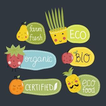 Zestaw etykiet żywności ekologicznej, ekologicznej i bio.