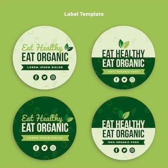 Zestaw etykiet żywności ekologicznej o płaskiej konstrukcji