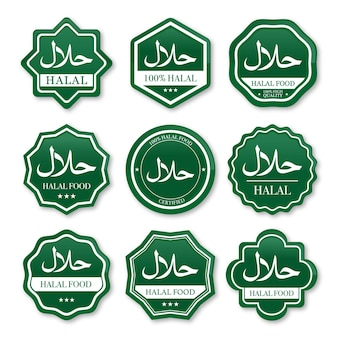 Zestaw etykiet żywności halal w kolorze zielonym i białym