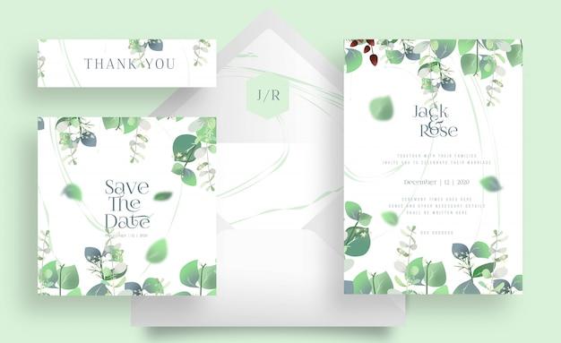 Zestaw eukaliptusowych kart ślubnych i koperta na białym kolorze
