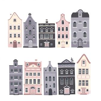 Zestaw europejskich domów z zabytkowymi oknami i drzwiami w uroczym skandynawskim stylu