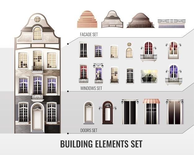 Zestaw europejskich elementów budowlanych