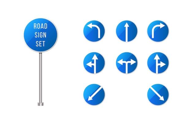 Zestaw europejskich znaków drogowych. niebieski zaokrąglony znak drogowy ze strzałkami. zestaw znaków wskaźnika.