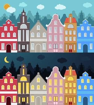 Zestaw europejskiego stylu kolorowe budynki kreskówek.