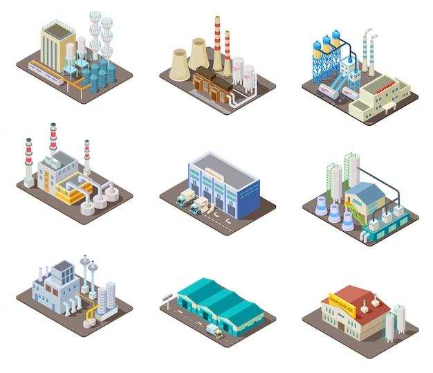 Zestaw fabryczny izometryczny. 3d budynki przemysłowe, elektrownia i magazyn. kolekcja na białym tle wektor