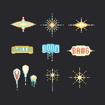 Zestaw fajerwerków pixel art. 8 bitowy.