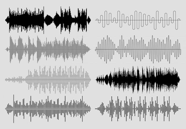 Zestaw fal dźwiękowych. muzyczne wykresy tętna lub audio