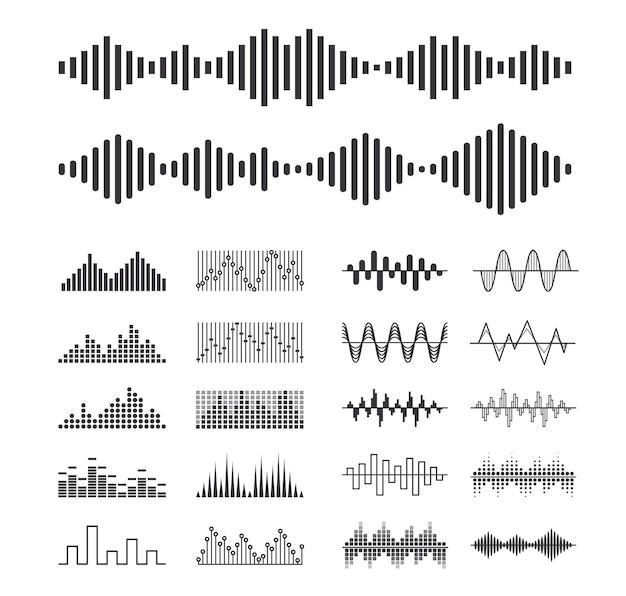 Zestaw fal dźwiękowych muzyki, na białym tle elementy projektu technologii cyfrowego korektora dźwięku, panel konsoli, pulsowe uderzenia muzyczne, rozpoznawanie głosu, symbole monochromatyczne częstotliwości. ilustracja wektorowa, ikony