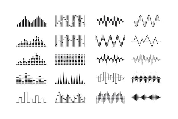 Zestaw fal dźwiękowych muzyki, utworów o częstotliwości radiowej i znaków impulsu wibracyjnego. technologia cyfrowego korektora dźwięku na białym tle elementy projektu, panel konsoli, pulsujące rytmy muzyczne. ilustracja wektorowa