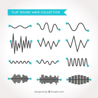 Zestaw fal dźwiękowych z niebieskimi kręgach