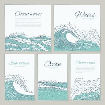 Zestaw fale morze ocean karta ślub, wakacje i podróż. ulotka lub plakat duże i małe lazurowe wybuchy rozpryskują się pianką i bąbelkami. ilustracja kontur szkicu
