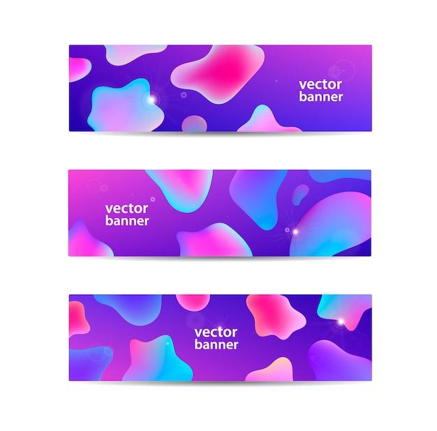 Zestaw faliste banery abstrakcyjnego przepływu. woda, strumień, strumień energii tła poziome. wave liquid, przezroczyste, gradientowe nagłówki