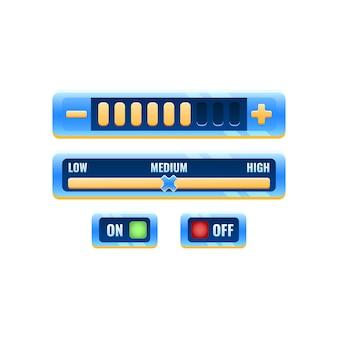Zestaw fantastycznego niebieskiego panelu ustawień sterowania gry kosmicznej z przyciskiem włączania i menu postępu