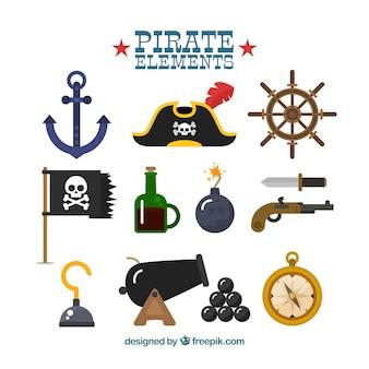 Zestaw fantastycznych elementów pirata w płaskim stylu