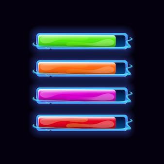 Zestaw fantastycznych przycisków gui z różnymi kolorami elementów zasobu gui