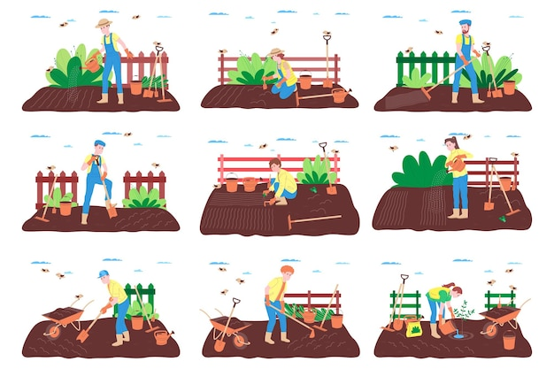 Zestaw farmy, hodowli i rolnictwa. robotnik rolny pracuje w gospodarstwie rolnym, sadzie lub ogródku warzywnym: kopie ziemię, ściele grządki, sadzi sadzonki warzyw i owoców, podlewa rośliny.