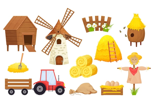 Zestaw farmy z belą siana stracha na wróble ula ciągnika wiatraka w stylu kreskówki