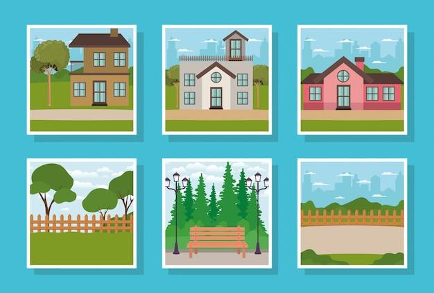 Zestaw fasad domów i scen parkowych