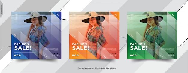 Zestaw fashion insta post social media post szablonu projektu