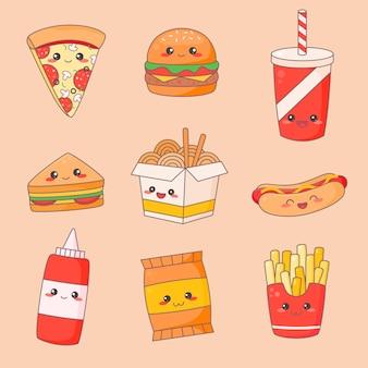 Zestaw fast food junk kawaii cute face.