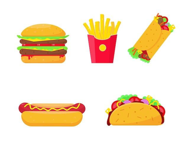 Zestaw fast food na białym tle. ikony burgera, frytki, hot doga, burrito i tako. szybkie lub niezdrowe elementy żywności.