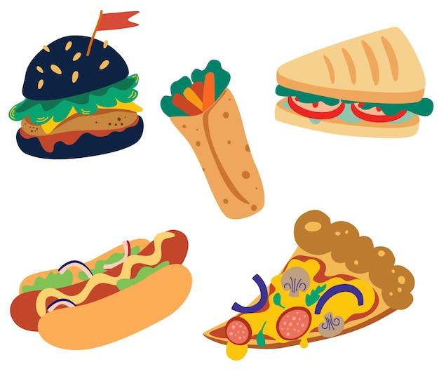 Zestaw fast foodów. burger, hamburger, pizza, kanapka, burrito i hot dog. tradycyjne jedzenie na wynos w sieciowych kawiarniach fast food. wysokokaloryczne. ilustracja wektorowa na białym tle