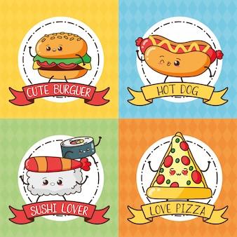 Zestaw fast foodów kawaii - śliczny hamburger, hot dog, sushi, pizza