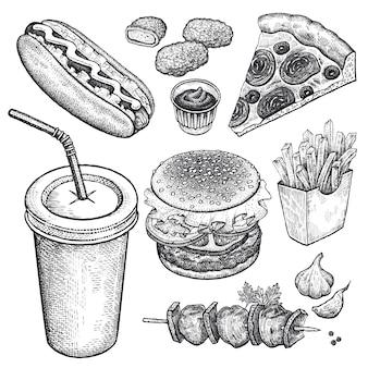Zestaw fast foodów.