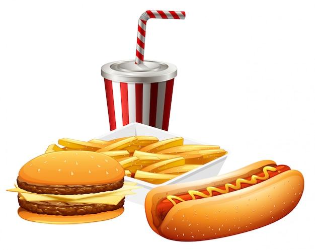 Zestaw fast foodów