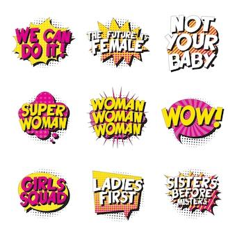 Zestaw feministycznych haseł w stylu retro pop-art w komiks dymek na białym tle.