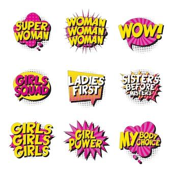 Zestaw feministycznych haseł w stylu retro pop-art w komiksach dymki na białym tle.