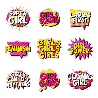 Zestaw feministycznych haseł w stylu retro pop-art w komiksowej bańce mowy