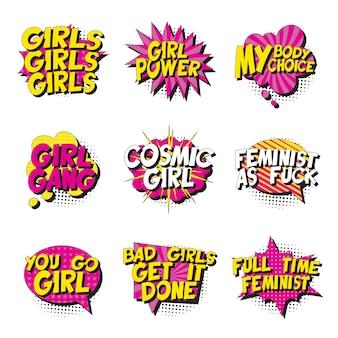 Zestaw feministycznych haseł w stylu retro pop-art